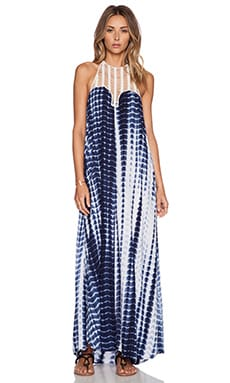 Le Salty Label Sun Down Maxi Dress in Blue Tie Dye