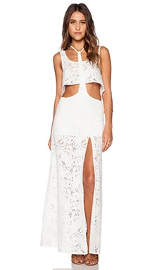 Le Salty Label Sunchaser T-Bar Crop Top & Maxi Skirt Set in White Crochet