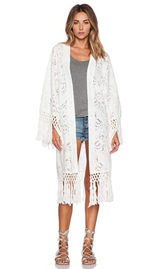 Le Salty Label Sun Chaser Kimono in White Crochet