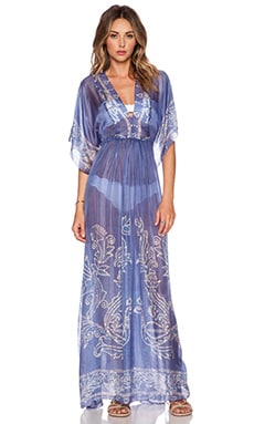 Lotta Stensson Peacock Batik Maxi Dress in Deep Blue