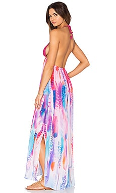 Lotta Stensson Crochet Spaghetti Maxi Dress in Pastel Feather Satin Crepe