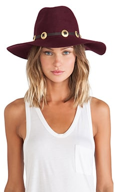 Lovely Bird Buenos Aires Gold Concho Hat in Bordeaux