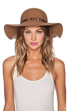 Lovely Bird Biarrtiz Almond Feather Trim Hat in Camel