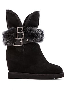 Hatchet Wedge Boot with Rabbit Fur  in Black