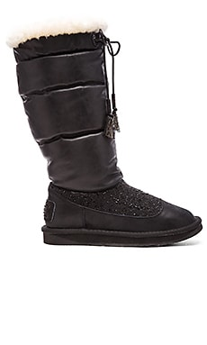 Australia Luxe Collective Earth Crystal Boot with Sheap Shearling in Black Leather & Crystal