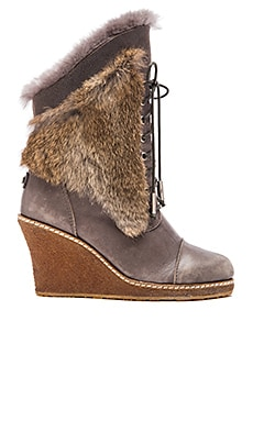 Australia Luxe Collective Meditere Rabbit Fur Wedge Boot in Gray Leather & Rabbit