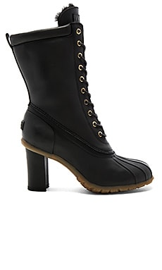 Havea Tall Heels with Shearling Lining in Black & Black