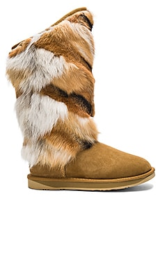 Mongol Fox Fur Boot in Tobacoo