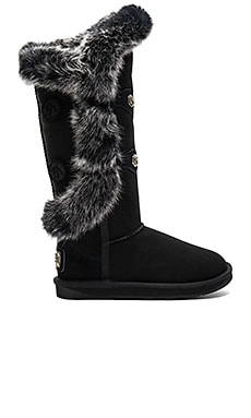 Nordic Angel X Tall Rabbit Fur and Shearling Boot in Black
