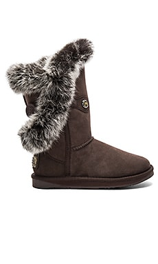 Nordic Angel Short Rabbit Fur and Shearling Boot in Espresso