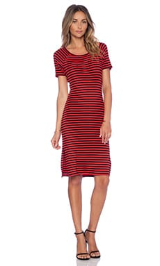 Lovers + Friends Hannah Midi Dress in Red Stripe
