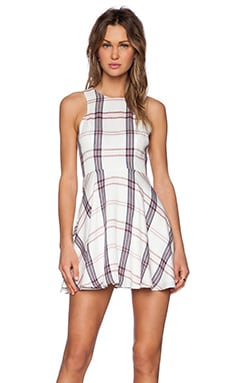 Lovers + Friends Sadie Fit & Flare Dress in Wine Plaid