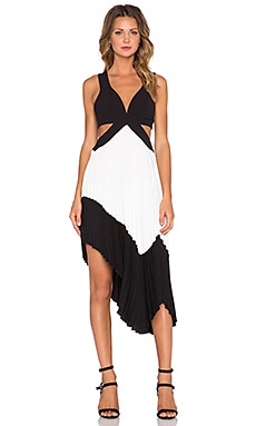 Lovers + Friends Stark Pleated Dress in Black & White