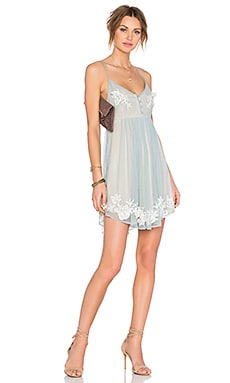 Lovers + Friends Love Struck Babydoll Dress in Dusty Blue