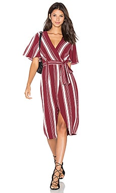 Fremont Wrap Dress in Cranberry Stripe