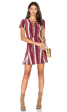 Lovers + Friends Compass Fit & Flare Dress in Cranberry Stripe