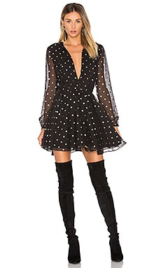 Hayley Dress in Gold Dot