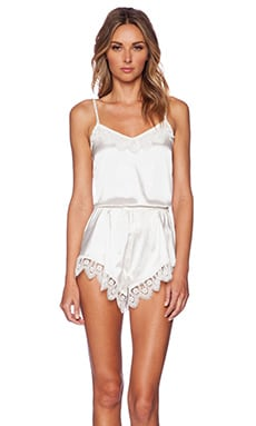 Lovers + Friends Breakfast in Bed Romper in Ivory