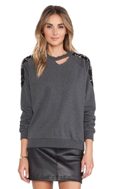 Lovers + Friends Bordeaux Pullover in Charcoal Grey
