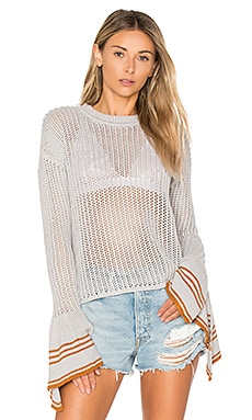 x REVOLVE Blown Sweater in Grey & Camel