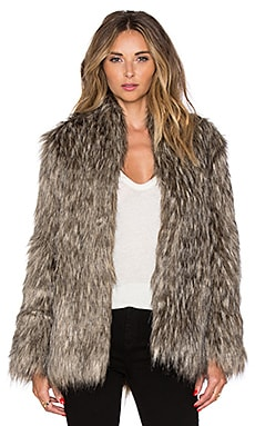 Selena Faux Fur Coat in Brown