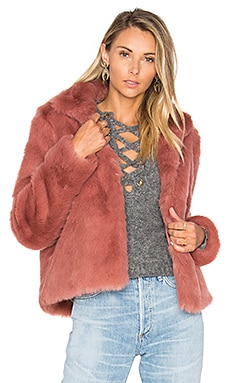 x REVOLVE Mia Faux Fur Jacket in Deep Mauve