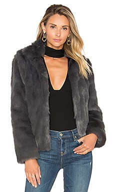 x REVOLVE Mia Faux Fur Jacket in Grey
