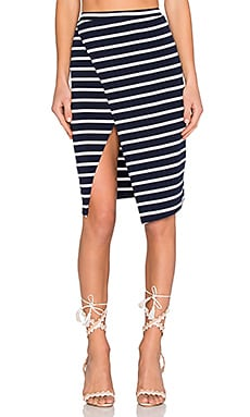 Lovers + Friends Laurel Skirt in Navy Stripe