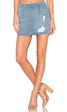 Lovers + Friends Ryder Mini Denim Skirt in Harper