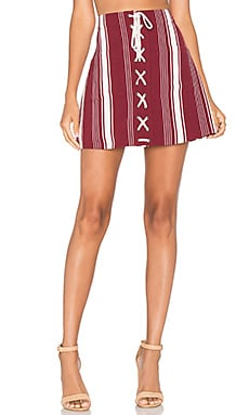 Beachwood Skirt in Cranberry Stripe