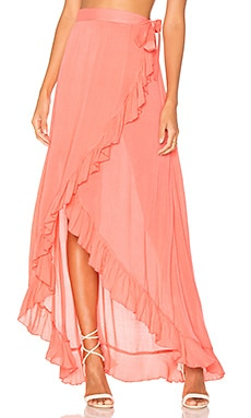 Waves For Days Wrap Skirt in Coral