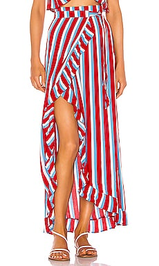 Waves For Days Wrap Skirt Lovers + Friends $64