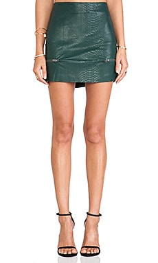 Lovers + Friends Good To Be Bad Mini Skirt in Evergreen Crocodile