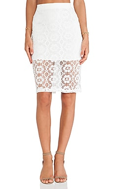 Lovers + Friends Jet Set Midi Skirt in Ivory