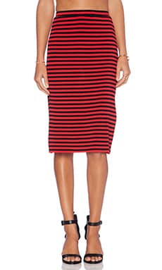 Lovers + Friends Iggy Slit Midi Skirt in Red Stripe