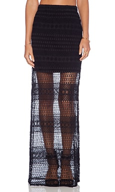 Jhene Aiko for Lovers +  Friends Parker Crochet Skirt in Black