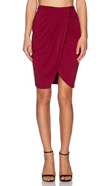 Lovers + Friends Rosemary Wrap Skirt in Wine