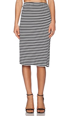 Lovers + Friends Iggy Midi Skirt in Black Stripe