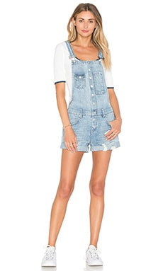 Lovers + Friends Shane Short Overalls in Solana