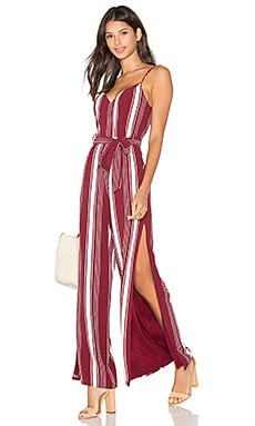 Charisma Jumpsuit in Cranberry Stripe