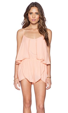 Lovers + Friends June Romper in Peach Daquiri