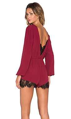 Lovers + Friends Angel Baby Romper in Wine