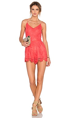 Lovers + Friends Songbird Romper in Coral Reef