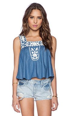 Lovers + Friends Dream Catcher Top in Blue Lagoon