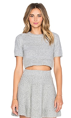 Lovers + Friends Be Flirty Crop Top in Light Grey