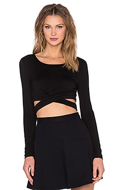 Lovers + Friends x REVOLVE Olympic Long Sleeve Crop Top in Black