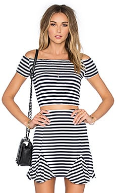 Lovers + Friends Crashing Waves Top in Navy Stripe