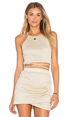 x REVOLVE x Alexis Ren Star Goddess Crop Top in Gold Jersey