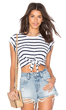 Lovers + Friends Abigail Top in Navy Stripe