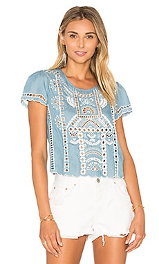 Lovers + Friends Weekender Ruffled Top in Light Wash